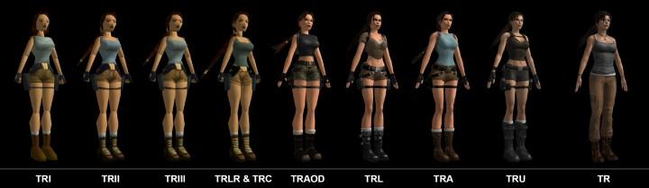 Imagem mostrando a evolução da personagem Lara Croft ao longo dos anos