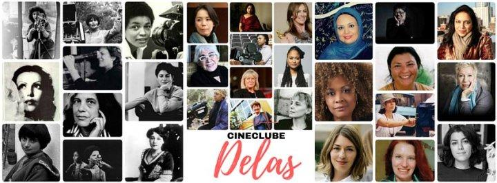 Várias fotos de mulheres diferentes, no meio e abaixo: Cineclube Delas.