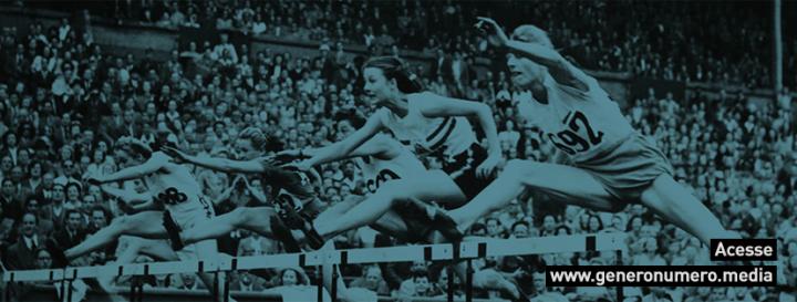 Corredoras mulheres no meio de um salto sobre obstáculos em um estádio lotado. No canto inferior direito: Acesse www.generonumero.media.