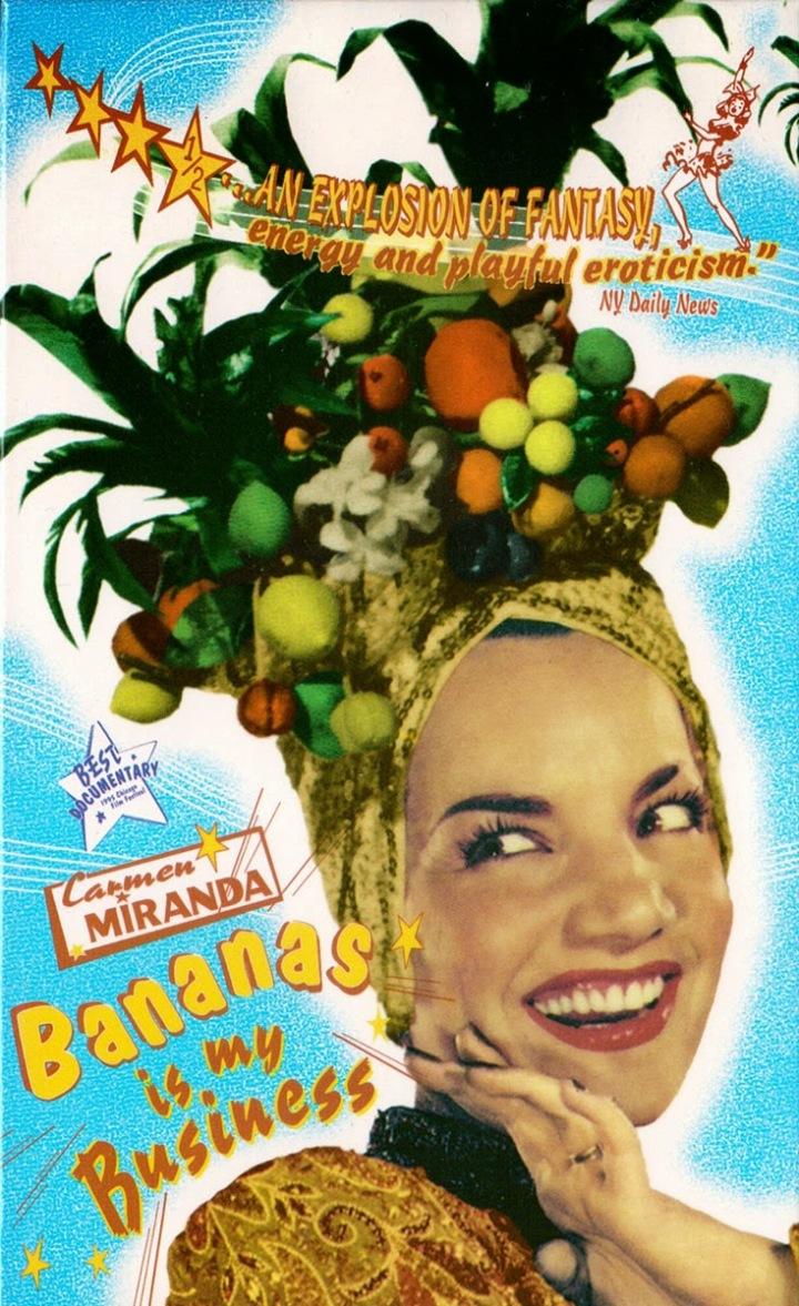No cartaz do filme está Carmen Miranda com um turbante cheio de frutas.