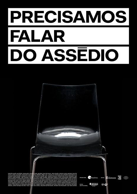 Cartaz do filme Precisamos falar do assédio. Abaixo do título há apenas a imagem de uma cadeira vazia.