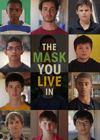 O cartaz do filme apresenta 12 fotos de meninos com idades variando entre cerca de 7 e 15 anos. Cada um deles em um pequeno quadrado. No centro está o título do filme The mask you live in.