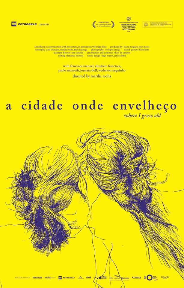 Cartaz do filme. Em traços finos de caneta, duas mulheres estão de costas e seus cabelos estão parcialmente soltos e bagunçados. Acima delas está o título do filme A cidade onde envelheço.